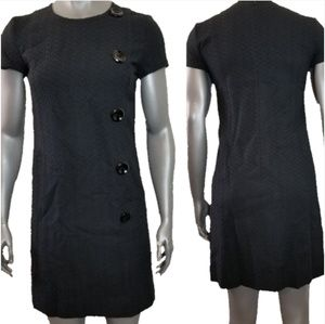 Ann Taylor Textured Black Mini Button Front Dress